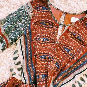 Sienna Sky Pants & Jumpsuits - Sienna Sky Boho Print Burnt Orange Shorts Romper
